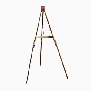 Mid-Century Beech and Brass Telescope Landscape Easel, 1950s