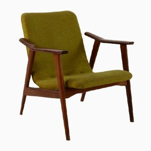 Armlehnstuhl aus Baumwolle & Teak von Louis van Teeffelen für WéBé, 1960er