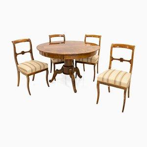 Juego de comedor Biedermeier alemán antiguo con mesa y cuatro sillas