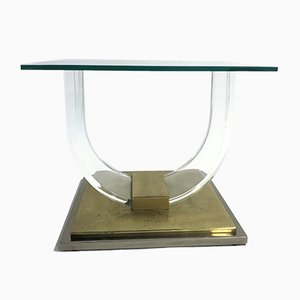 Table Basse en Laiton et Lucite par Charles Hollis Jones pour Belgo Chrom, 1970s