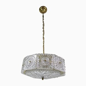 Brass and Crystal Ceiling Lamp by Carl Fagerlund for Orrefors, 1960s