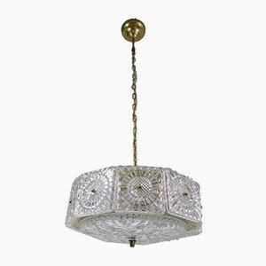 Lampada da soffitto in ottone e cristallo di Carl Fagerlund per Orrefors, anni '60
