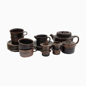 Finnish Ceramic Ruska Tea Set by Ulla Procopé for Arabia, 1960s, Set of 15