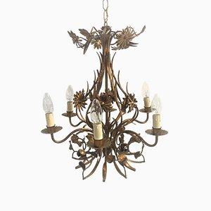 Lámpara de araña italiana Mid-Century floral de metal dorado, años 50