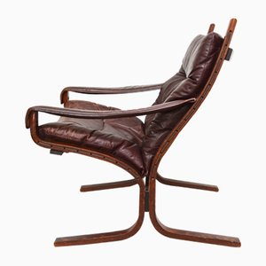 Siesta Leather and Rosewood Lounge Chair by Ingmar Relling for Westnofa, 1963