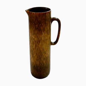 Brocca vintage in ceramica marrone di Carl-Harry Stålhane per Rörstrand, Svezia, anni '50
