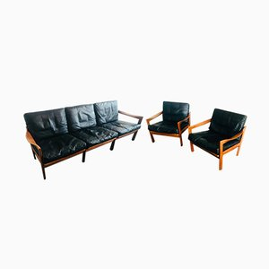 Danish Leather and Teak Living Room Set by Illum Wikkelsø for Niels Eilersen, 1960s