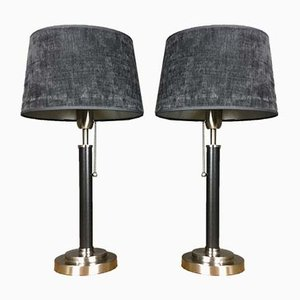 Dutch Chrome & Leather Table Lamps from Van de Heg, 1970s, Set of 2