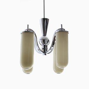 Art Déco Kronleuchter aus verchromtem Metall & Farbglas mit 4 Leuchten, 1930er