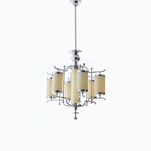 Art Deco Chrome Plating and Colored Glass 7-Light Chandelier, 1920s