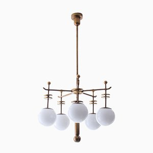Art Deco Brass and Opaline Glass 5-Light Chandelier, 1930s