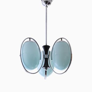 Art Deco Chrome Plating and Blue Glass 3-Light Chandelier, 1930s