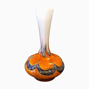 Vaso Mid-Century in vetro arancione e grigio di Carlo Moretti per Opaline Florence, anni '70