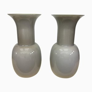 Modernist Grey Murano Glass Vases by Aureliano Toso, 2000s, Set of 2