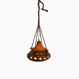Lámpara colgante vintage de cerámica naranja