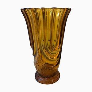 Art Deco Belgian Amber Glass Vase by Henri Heemskerk, 1930s