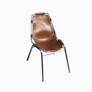 Chaise d'Appoint Les Arcs en Chrome & Cuir par Charlotte Perriand pour Cassina, 1973
