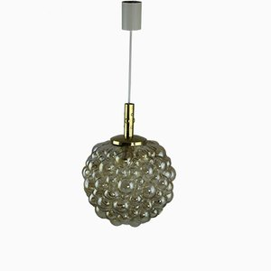 Große Mid-Century Deckenlampe aus Messing & Glas in Blasen-Optik von Helena Tynell für Limburg Glashütte