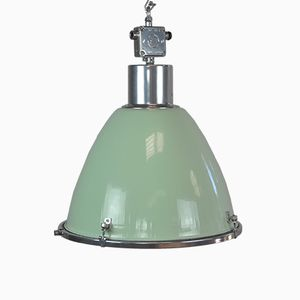 Green Enameled Industrial Pendant Light, 1960s