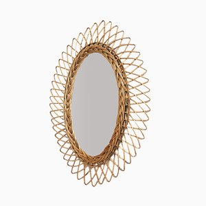 Mid-Century French Rattan Mirror, 1960s