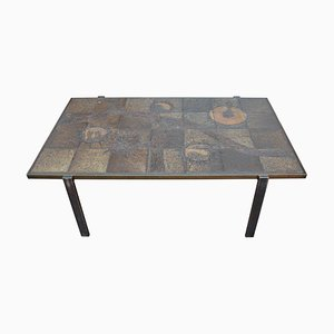 Vintage Danish Coffee Table with Copper Frame & Ceramic Stoneware Tiled Top