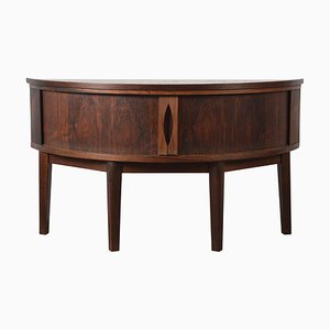 Low Mid-Century Danish Modern Rosewood Demilune Tambour Sideboard with Copper Top