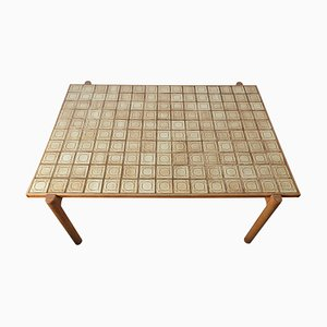 Mid-Century Danish Oak & Ceramics Coffee Table with Tile Top by Kurt Østervig