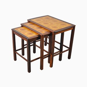 Mid-Century Danish Solid Rosewood Nesting Tables with Tiled Tops from Willy