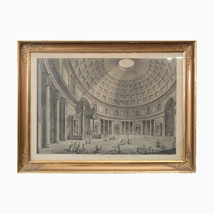 Antique Etching of Roman Pantheon Interior, 1807