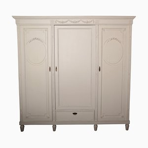 French Louis XVI Style White Wardrobe, 1900s