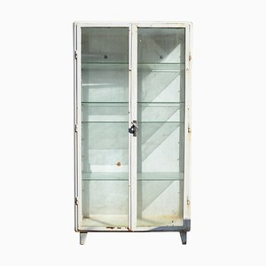 Mid-Century Industrial Steel Medical Cabinet with Vitrine, 1970s
