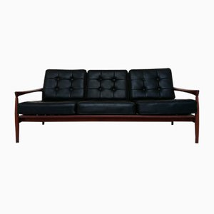 Mid-Century Scandinavian Leatherette & Palisander Sofa by Ib Kofod Larsen