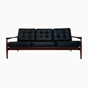 Skandinavisches Mid-Century Sofa aus Kunstleder & Palisander von Ib Kofod Larsen