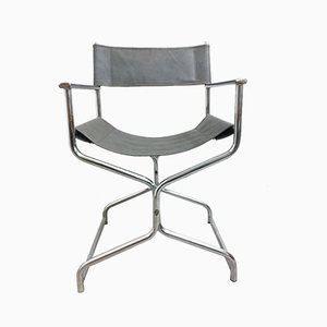 Chrome Plating and Leather Folding Chair, 1960s