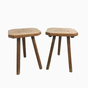 Mid-Century French Wooden Stools, 1950s, Set of 2