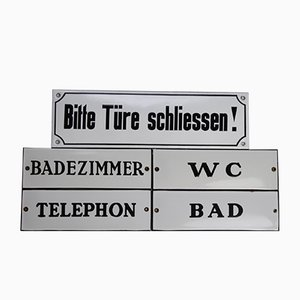 Industrial German Enameled Signs, 1940s, Set of 5