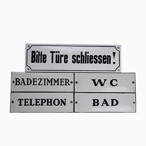 Industrial German Enameled Signs, 1940s, Set of 5