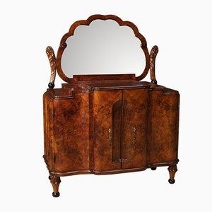 Italian Burl Walnut Dresser with Mirror, 1950s