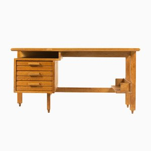 French Oak Desk by Guillerme et Chambron for Votre Maison, 1960s