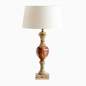 Vintage Italian Red and Green Onyx Table Lamp, 1970s