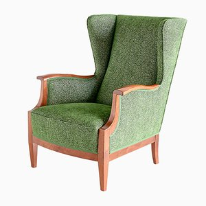 Danish Fabric, Chenille, & Walnut Wingback Armchair by Frits Henningsen, 1930s