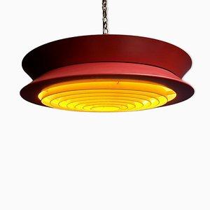 Lampe à Suspension UFO Mid-Century en Métal Rouge
