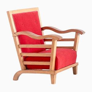 Französische Sessel aus Stoff, Eiche und Ulmenholz von Marguerite Dubuisson, 1947, 2er Set