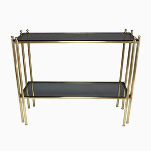 Vintage French Brass & Glass Console Table, 1970s