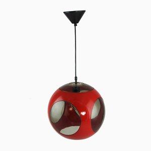 Lámpara de techo esférica roja de Luigi Colani, años 70