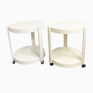 Mesas auxiliares vintage de plástico con ruedas, años 70. Juego de 2