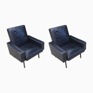 Mid-Century Black Leatherette Armchairs, 1960s, Set of 2
