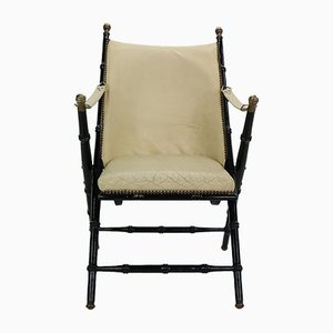 Vintage Brass and Leather Folding Chair, 1970s