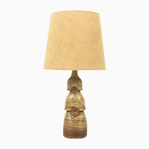 Mid-Century French Ceramic and Jute Table Lamp, 1950s