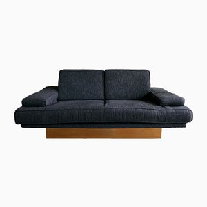 Vintage French Black Wool & Brass 2-Seater Sofa, 1980s